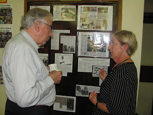 Bill Sewell and Helen - engaged in serious discussion
