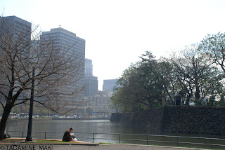 Lunch time, at a bench near the Imperial Palace