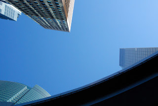 Buildings in the blue, at Shiodome, in Tokyo