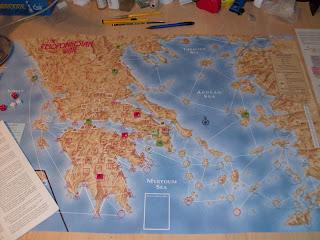 El mapa de Peloponnesian War sobre mi mesa