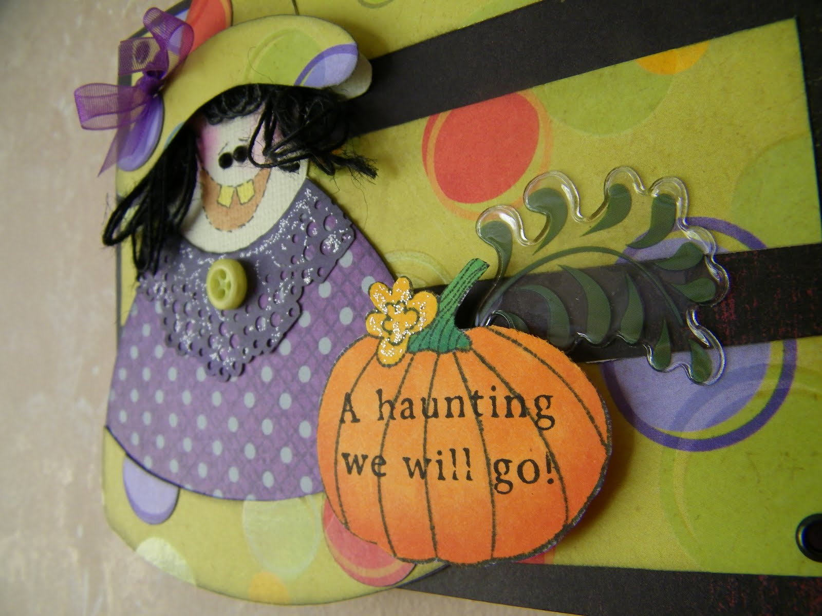 Flesh colored cardstock - Here Is A Little Closer Look At My Witch And Pumpkin I Added Just A Little Frosted Lace Stickles To The Flower And The Collar Of The Witch