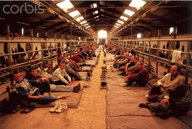 Bosnian Genocide, August 1992. Manjaca concentration camp near Prijedor,