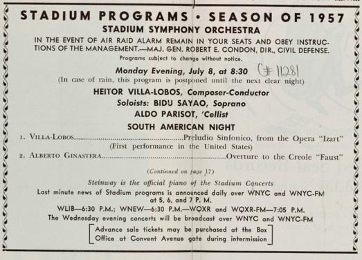 Stadium concert program, July 1957