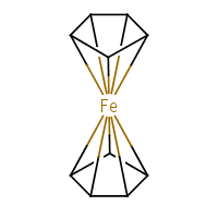 ferrocene with 10-coordinate iron
