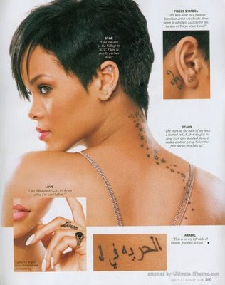 rihanna ear tattoo. behind the ear