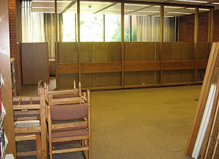 photo of empty space where carrels used to be