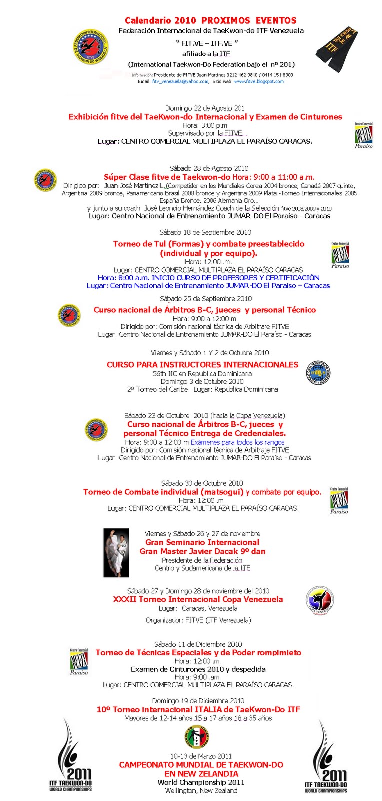 calendario fitve nacional e internacional