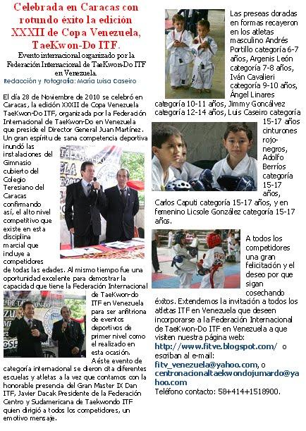 Nota de Prensa Torneo Copa Venezuela 2010
