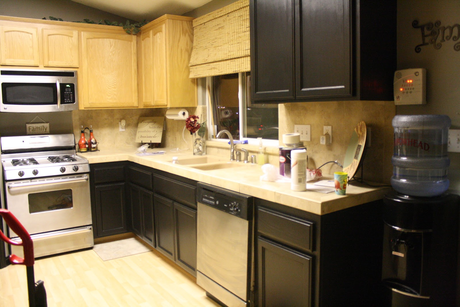 Paint oak cabinets black images for Dark oak kitchen cabinets