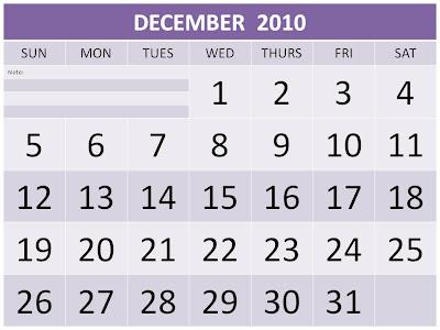 december 2010 calendar printable. Free Printable December 2010