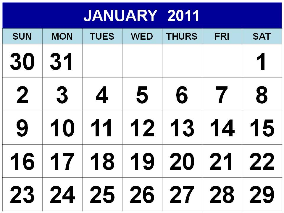 To download and print this Free Monthly Calendar 2011 January: