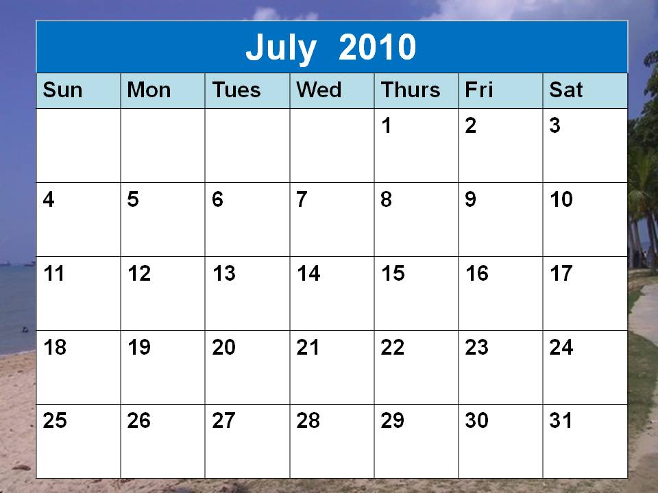 July 2010 Calendar | New Calendar Template Site