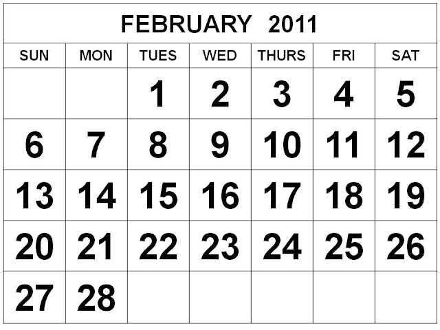 2011 calendar printable february. Free Printable 2011 Calendar