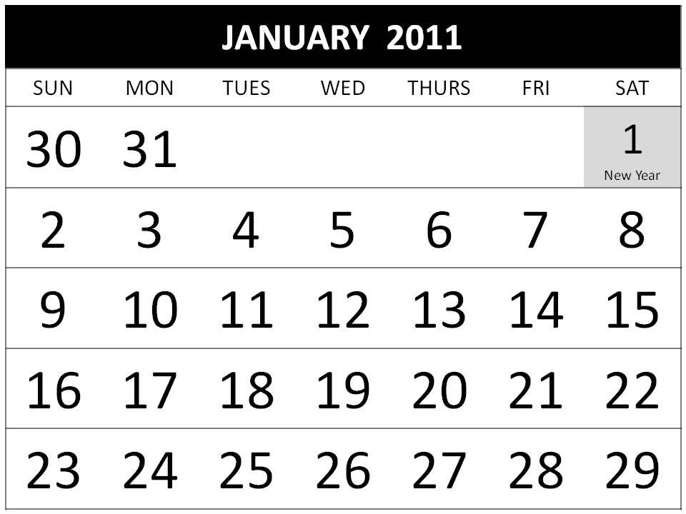 free printable 2011 calendar