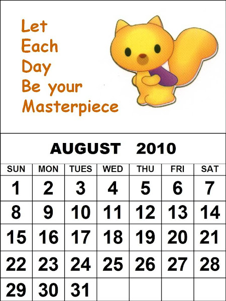 : Childrens printable 2010 calendars - August 2010 cute calendar