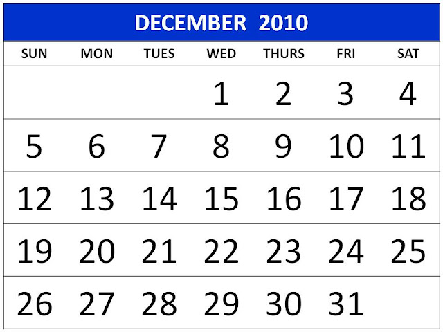 december 2010 calendar printable. Printable Calendar 2010