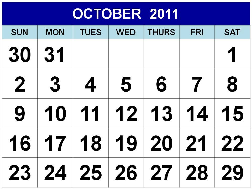 october calendar 2011. Christian academy - calendar