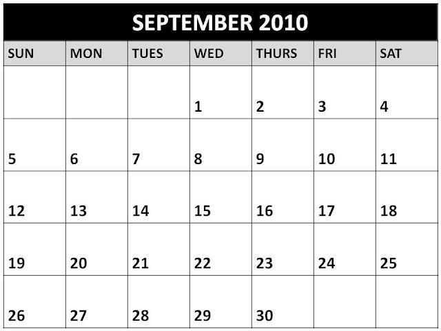 september 2010 calendar. Blank September 2010 Calendar