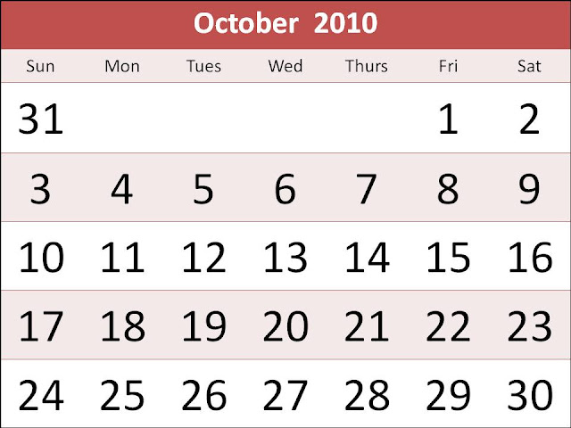 calendar october 2010. hot lank calendar october
