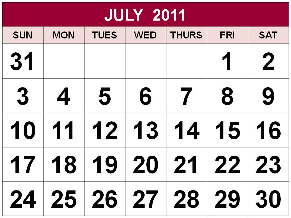 Singapore July 2011 Calendar with Holidays (PH)