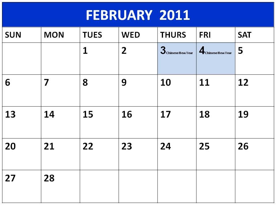 Printable Planner 2011 February Singapore Holidays / Homemade Planner