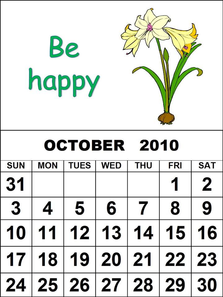 calendar october 2010. 2010 Monthly Calendar for