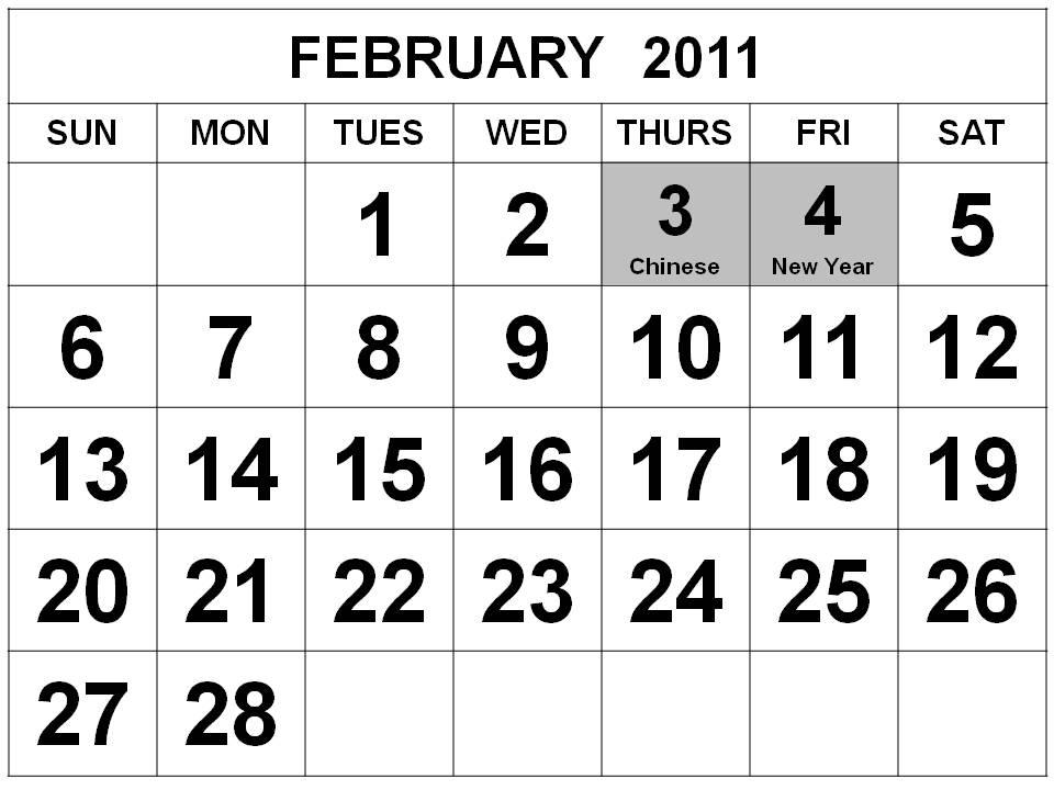 2011 calendar for february