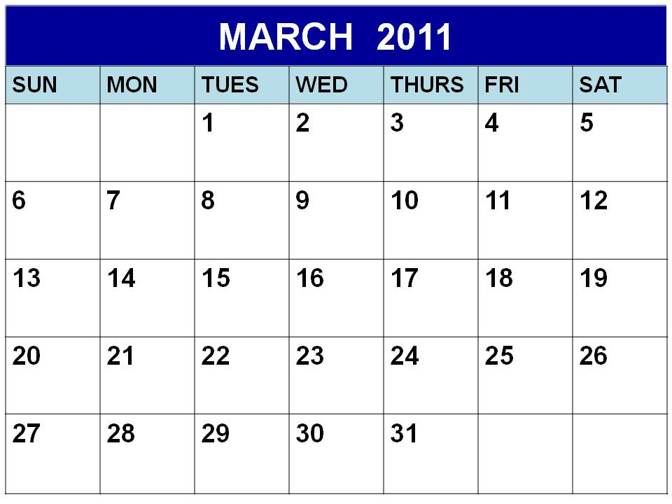 Blank March 2011 Calendar Printable Template