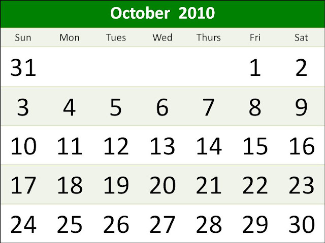 2011 calendar template with holidays. october 2011 calendar with