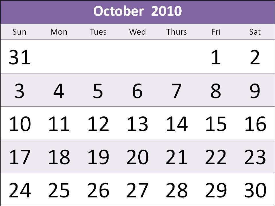 october 2010 calendar printable. Free Singapore 2010 October