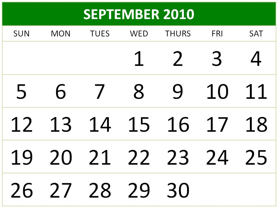 calendar template 2010. monthly calendar template