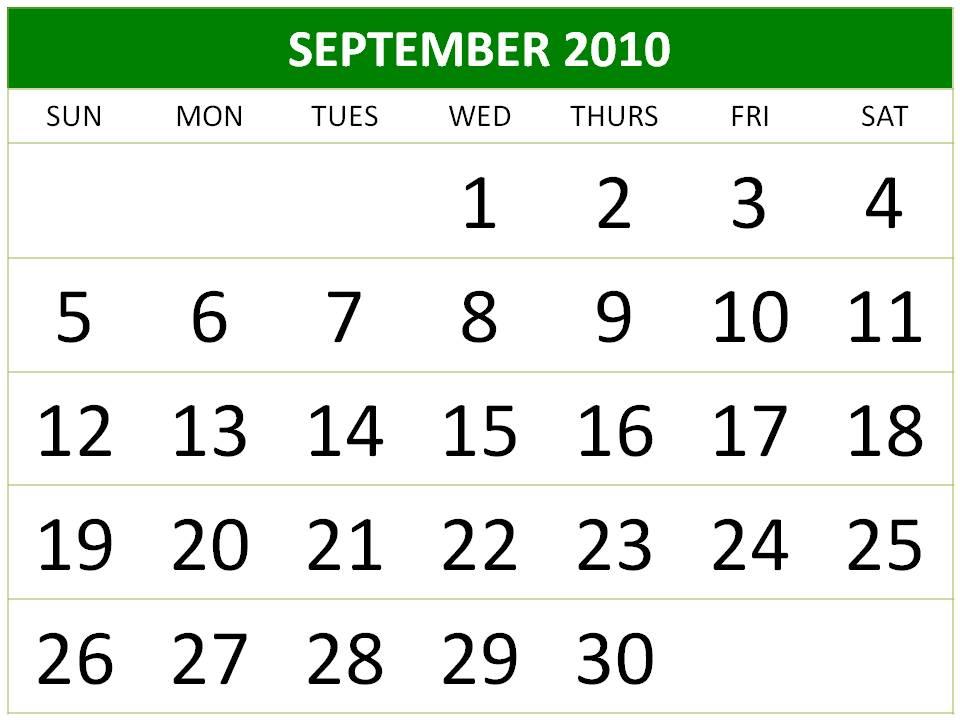 september 2010 calendar. Free Big September 2010