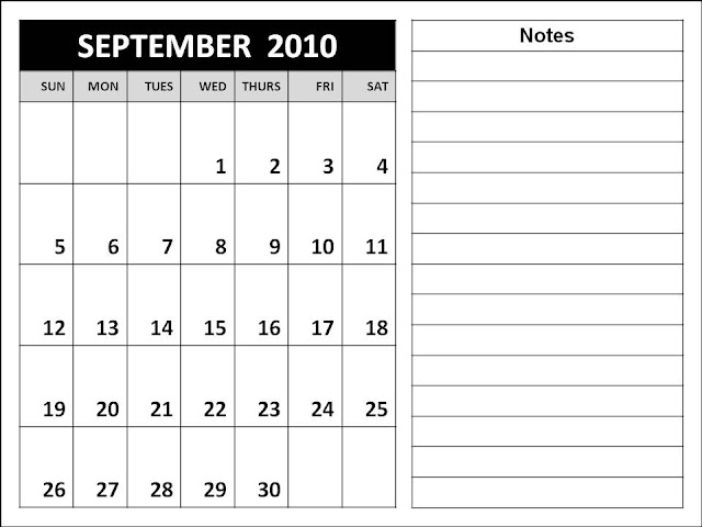 blank september 2011 calendar. lank september calendar.