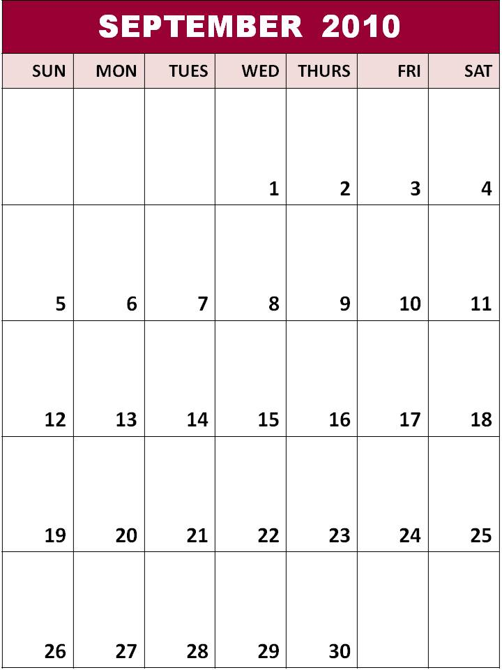 calendar template 2010. Blank Calendar Templates 2010