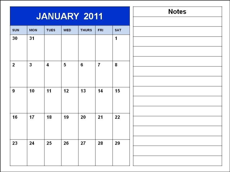 2011 calendar printable january. January 2011 Calendar Blank