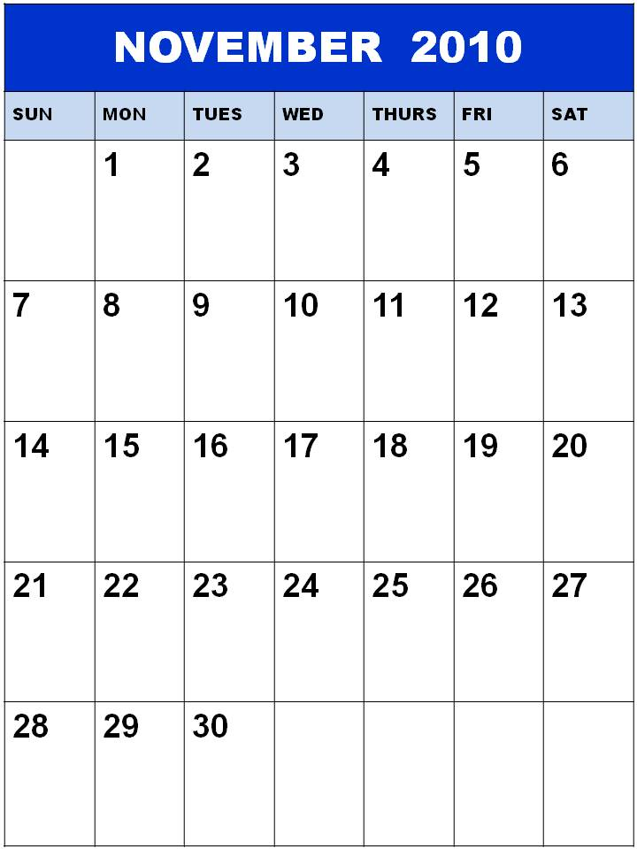 printable november 2010 calendar. Blank November 2010 Calendar