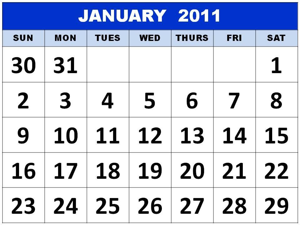 2011 calendar printable january. Printable January 2011