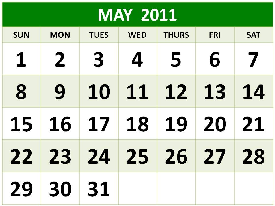 2011 calendar including bank holidays