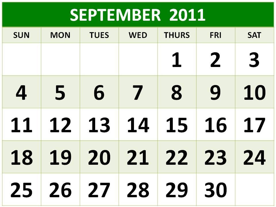 calendar september 2011. Kawaii printables calendar