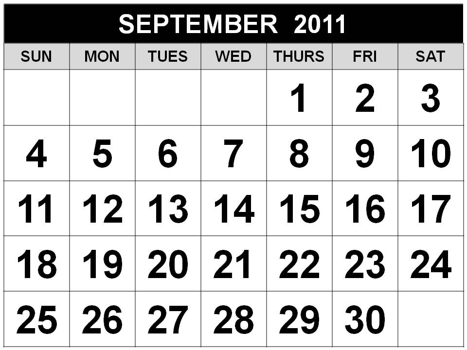 Black and White Printable September 2011 Calendar with big fonts