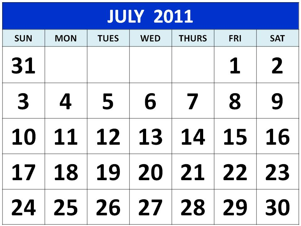 To download and print these Free Big Monthly Calendar 2011 July with big