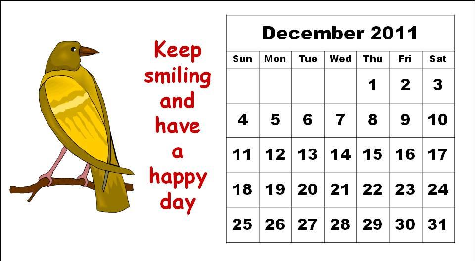 December Calendar Cartoon | Calendar Template 2016