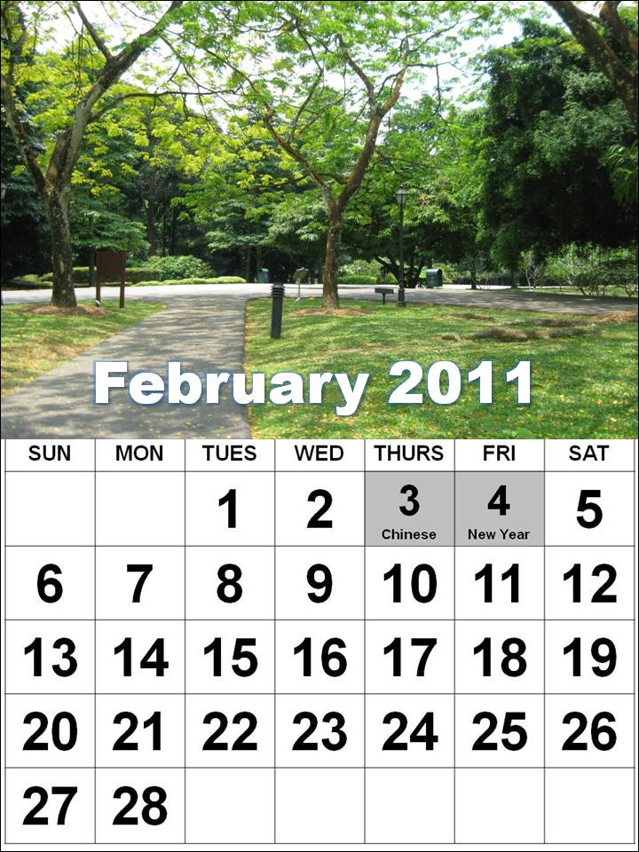 these Free Singapore Monthly Calendars 2011 February with Holidays: