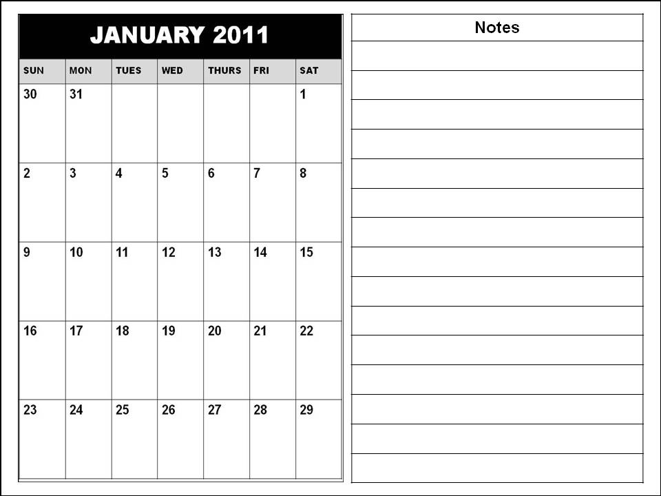 Blank Calendars 2011 / Planners 2011 - Horizontal with notes