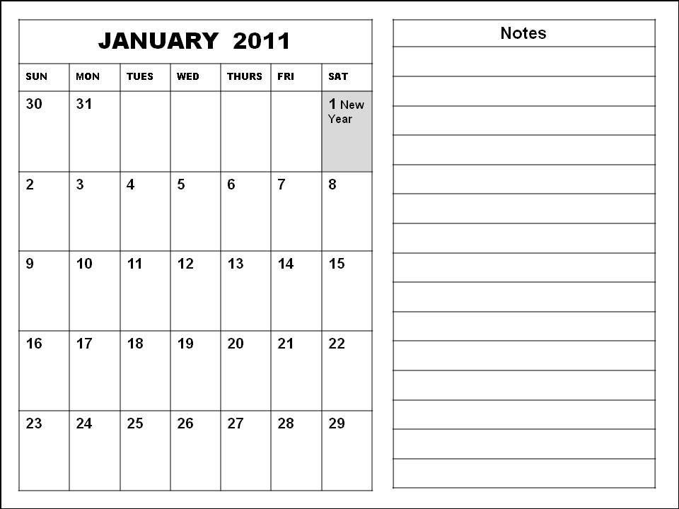 january 2011 calendar planner. January 2011 Calendar Blank