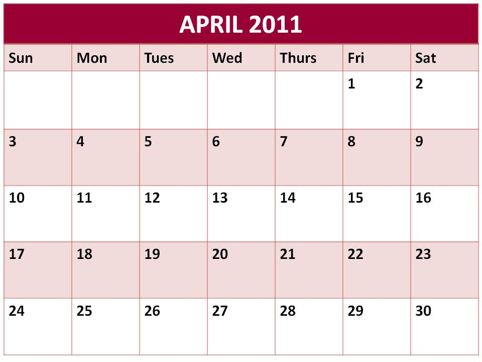 april 2010 blank calendar. lank calendars for april 2011
