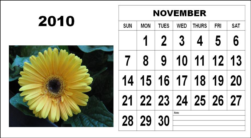 To download and print this Free Big November 2010 Calendar with Big Fonts: