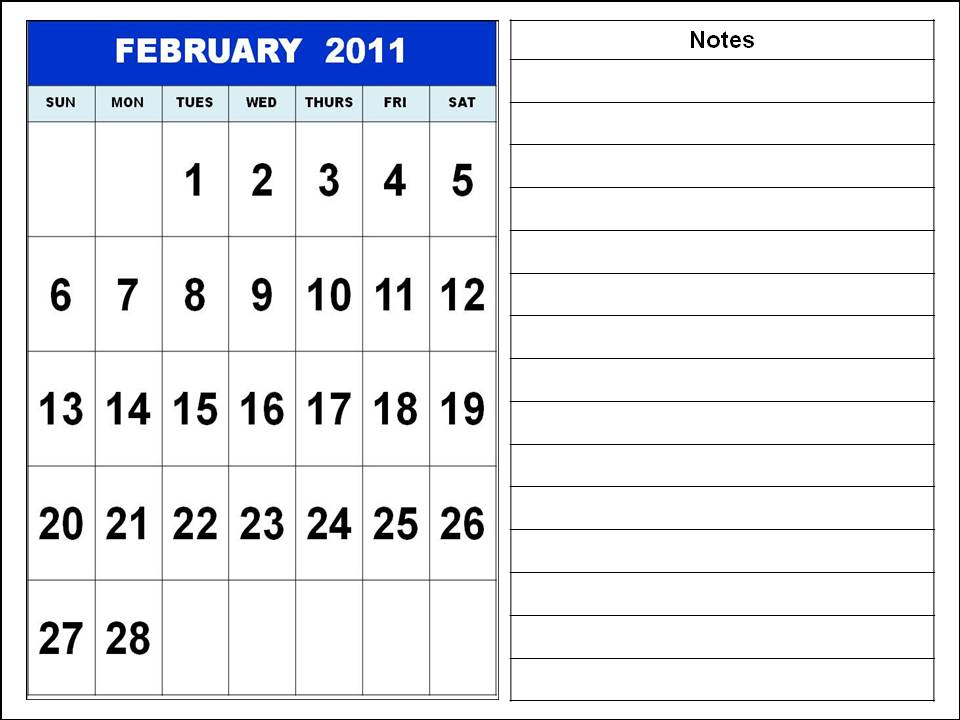 Homemade Printable Calendar 2011 February with notes