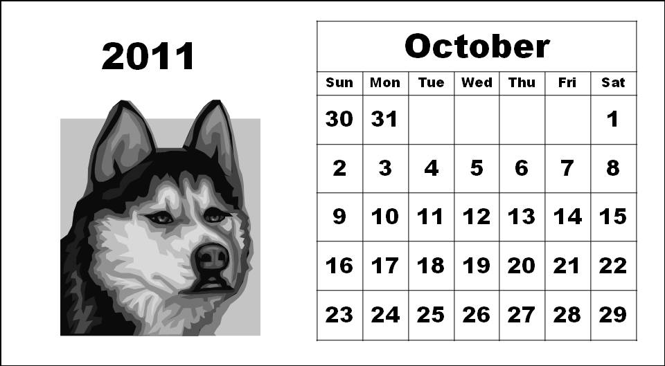 calendar october 2011. Dog Puppies Calendar 2011