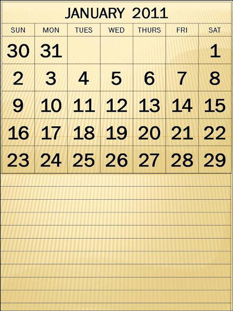2011 calendar printable january. January 2011 Calendar